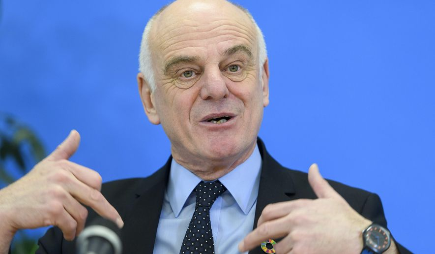 In this Jan. 26, 2017, file photo David Nabarro, U.N. secretary-general's special envoy on ebola, speaks to the media, at the World Health Organization (WHO) headquarters in Geneva, Switzerland. (Martial Trezzini/Keystone via AP) ** FILE **