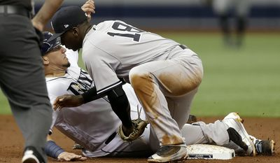 New York Yankees shortstop Didi Gregorius (18) tags out Tampa Bay Rays' Jesus Sucre after he was picked off second base by catcher Gary Sanchez during the second inning of a baseball game, Saturday, May 20, 2017, in St. Petersburg, Fla. (AP Photo/Chris O'Meara)