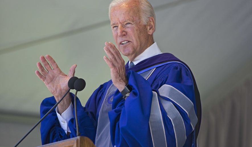 Former U.S. Vice President Joe Biden speaks during Colby College commencement ceremonies in Waterville, Maine, Sunday, May 21, 2017. Biden also received an honorary Doctor of Laws degree. (Dennis Griggs/Courtesy of Colby College via AP)