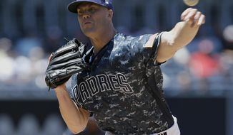 San Diego Padres starting pitcher Clayton Richard throws to the plate against the Arizona Diamondbacks during the first inning of a baseball game in San Diego, Sunday, May 21, 2017. (AP Photo/Alex Gallardo)