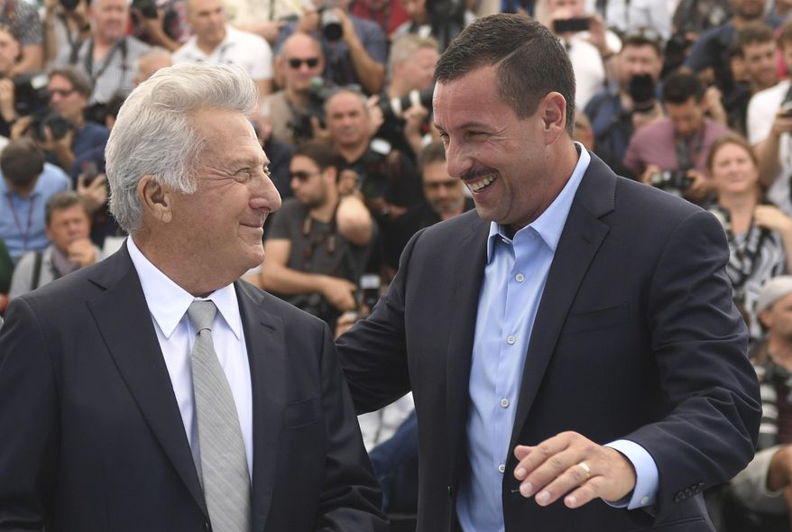 Actors Dustin Hoffman, left, and Adam Sandler pose for photographers during the photo call for the film The Meyerowitz Stories at the 70th international film festival, Cannes, southern France, Sunday, May 21, 2017. (Photo by Arthur Mola/Invision/AP)
