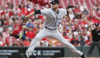 Colorado Rockies starting pitcher Kyle Freeland throws in the first inning of a baseball game against the Cincinnati Reds, Sunday, May 21, 2017, in Cincinnati. (AP Photo/John Minchillo)