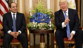 U.S. President Donald Trump, right, holds a bilateral meeting with Egyptian President Abdel Fattah al-Sisi, Sunday, May 21, 2017, in Riyadh. (AP Photo/Evan Vucci)