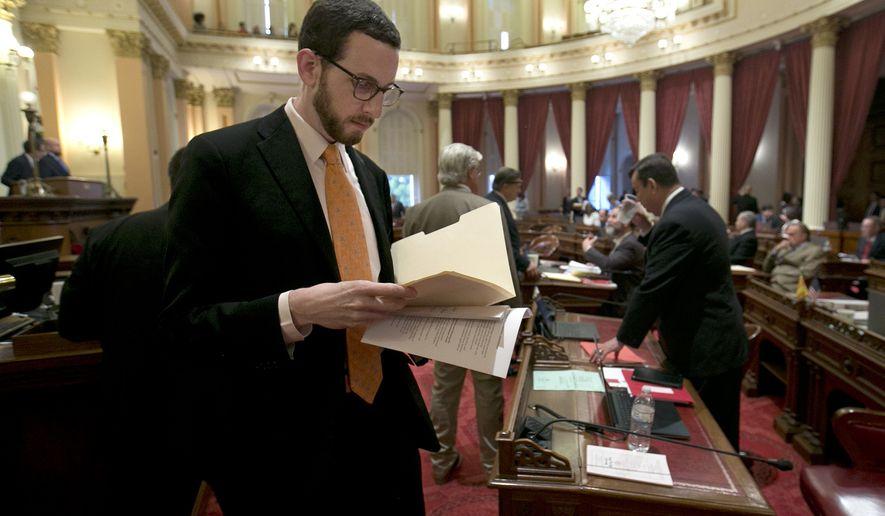 State Sen. Scott Wiener, D-San Francisco,   at the Capitol, Thursday, April 20, 2017, in Sacramento, Calif. (AP Photo/Rich Pedroncelli)