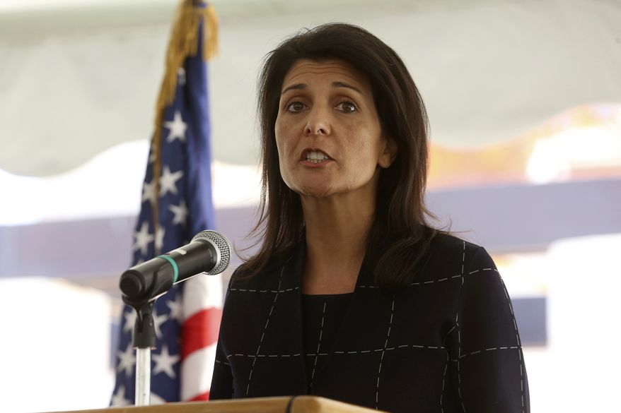 Nikki Haley, the U.S. ambassador to the United Nations , speaks to a crowd of US foreign service members at the American embassy in Amman, Jordan on Monday, May 22, 2017. Haley is pledging additional support for refugees fleeing Syria's long civil war. (AP Photo/Raad Adayleh, Pool)