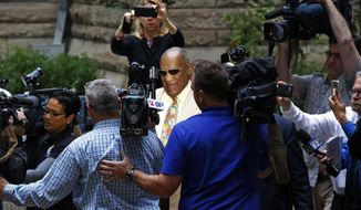 Bill Cosby, center, arrives for jury selection in his sexual assault case at the Allegheny County Courthouse, Monday, May 22, 2017, in Pittsburgh. The case is set for trial June 5 in suburban Philadelphia. (AP Photo/Gene J. Puskar)