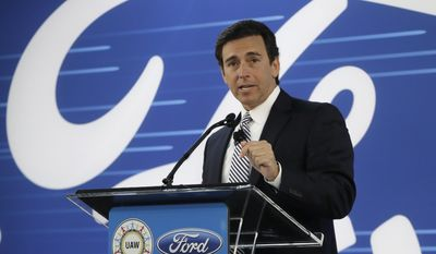 FILE - In this Jan. 3, 2017 file photo, Ford President and CEO Mark Fields addresses the Flat Rock Assembly in Flat Rock, Mich. Ford is replacing its CEO amid questions about its current performance and future strategy, a person familiar with the situation has said. Fields will be replaced by Jim Hackett, who joined Ford's board in 2013. (AP Photo/Carlos Osorio, File)