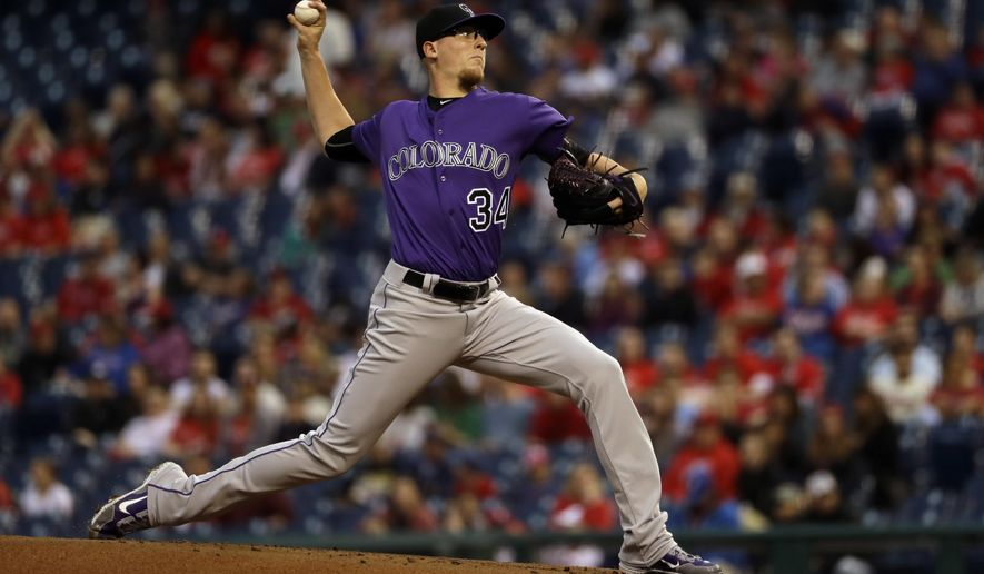 Colorado Rockies' Jeff Hoffman pitches during the first inning of a baseball game against the Philadelphia Phillies, Monday, May 22, 2017, in Philadelphia. (AP Photo/Matt Slocum)