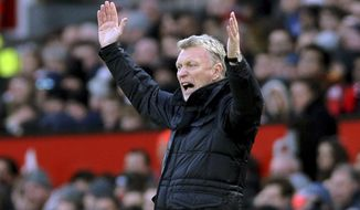 FILE - In this file photo dated Monday, Dec. 26, 2016, Sunderland manager David Moyes reacts during the English Premier League soccer match between Manchester United and Sunderland at Old Trafford in Manchester, England. Sunderland manager David Moyes has resigned after the team's relegation from the English Premier League. The former Manchester United coach announced his decision at a meeting with the club hierarchy in London on Monday, May 22, 2017. (AP Photo/Rui Vieira, File)