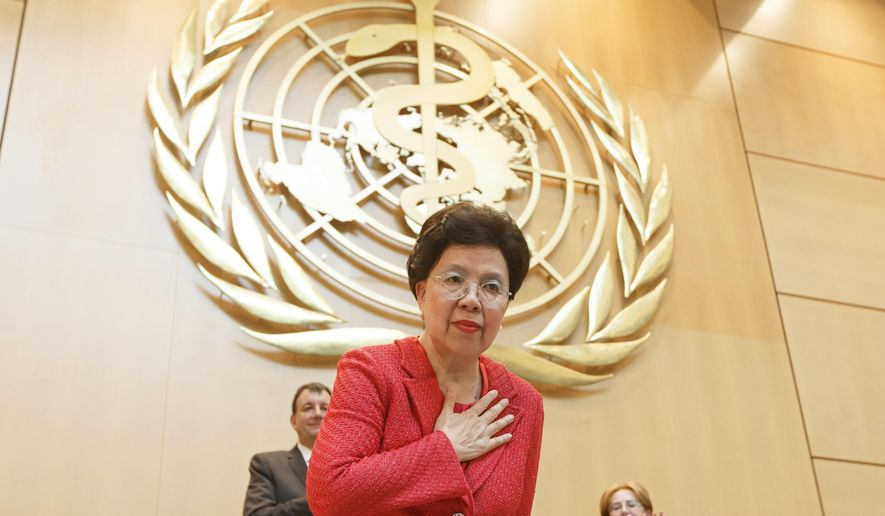 China's Margaret Chan, Director General of the World Health Organization, WHO, greets delegates after her statement, during the 70th World Health Assembly at the European headquarters of the United Nations in Geneva, Switzerland, Monday, May 22, 2017.  (Salvatore Di Nolfi/Keystone via AP)