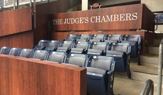 The rooting section for New York Yankees rookie Aaron Judge is viewed at Yankee Stadium in New York, Monday, May 22, 2017. Looking like a jury box and known as The Judge's Chambers, the section is just behind where Judge plays right field. (AP Photo/Ben Walker)