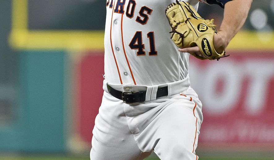 Houston Astros relief pitcher Brad Peacock delivers during the first inning of a baseball game against the Detroit Tigers, Monday, May 22, 2017, in Houston. (AP Photo/Eric Christian Smith)