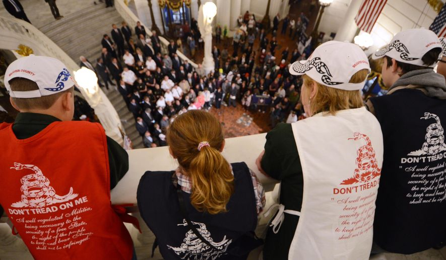 People watch as supporters of gun rights crowd the Capitol rotunda in Harrisburg, Pa., on Monday, May 22, 2017, pushing for an agenda that includes looser rules for carrying concealed weapons.  (AP Photo/Marc Levy)