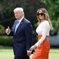 President Trump and first lady Melania Trump, leave the White House as they embark on Mr. Trump's first overseas tour to the Middle East. (Associated Press)
