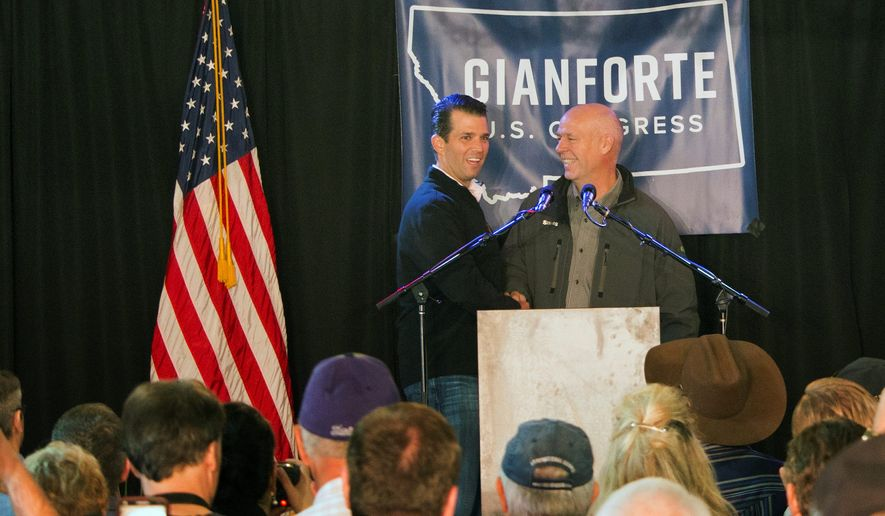 Republican Greg Gianforte (right) opposed the GOP's overhaul of Obamacare but said he defends the House GOP caucus for making an effort to amend health care policy. However, Democrat Rob Quist said that may not be enough for Montana voters, and he urged them to send Mr. Gianforte a message at the ballot box. (Associated Press) ** FILE **