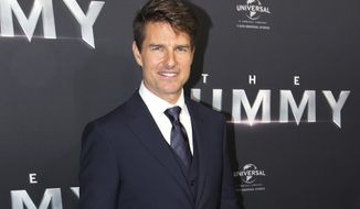 "FILE - In this Monday, May 22, 2017 file photo, actor Tom Cruise arrives for the Australian premiere of his movie ""The Mummy,"" in Sydney. The 54-year-old actor says the long-discussed sequel to ""Top Gun"" is a sure thing and should start shooting soon. Cruise was appearing on the Australian morning news show ""Sunrise"" on Wednesday, May 24, 2017, when the anchors asked about it. (AP Photo/Rick Rycroft, File)"