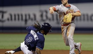 Los Angeles Angels second baseman Nolan Fontana forces Tampa Bay Rays' Michael Martinez at second base and throws to first in time to turn a double play on Derek Norris during the fifth inning of a baseball game, Monday, May 22, 2017, in St. Petersburg, Fla. (AP Photo/Chris O'Meara)