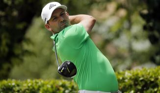 Sergio Garcia, of Spain, hits off the first tee during the final round of the Byron Nelson golf tournament, Sunday, May 21, 2017, in Irving, Texas. (AP Photo/Tony Gutierrez)