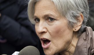 FILE - In this Dec. 5, 2016, file photo, presidential Green Party candidate Jill Stein speaks at a news conference in front of Trump Tower in New York. Michigan's fee to recount election votes would double if a losing candidate is down by more than 5 percentage points under legislation approved Tuesday, May 23, 2017, by the state Senate in response to Stein's recount bid last fall. The bill would increase the fee from $125 per precinct to $250. (AP Photo/Mark Lennihan, File)