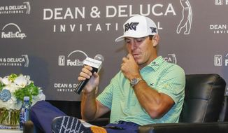 Billy Horschel meets with the media at the Dean & Deluca Invitational golf tournament at Colonial Country Club, Tuesday, May 23, 2017, in Fort Worth, Texas. (Ray Carlin/Star-Telegram via AP)