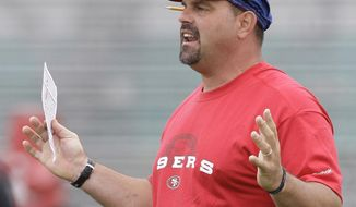 In this photo taken Aug. 3, 2009, then-San Francisco 49ers defensive coordinator Greg Manusky yells during NFL football training camp in Santa Clara, Calif. With new defensive coordinator Manusky and defensive line coach Jim Tomsula setting the tone and rookies Jonathan Allen and Ryan Anderson bringing some fresh blood, the Washington Redskins' defense has a shot of energy as it tries to improve on back-to-back 28th-ranked seasons. (AP Photo/Jeff Chiu)