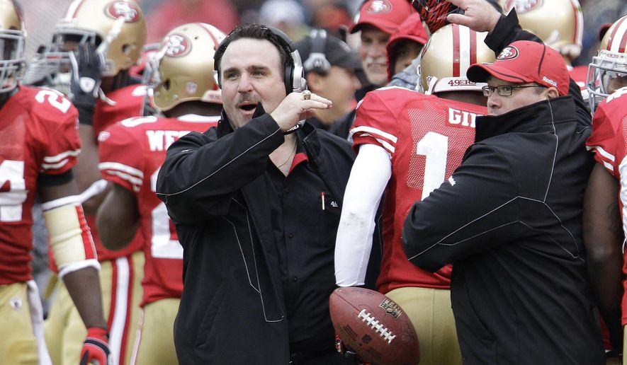 In this photo taken Jan. 2, 2011, then-San Francisco 49ers head coach Jim Tomsula is seen during an NFL football game in San Francisco.With new  defensive line coach Jim Tomsula and new defensive coordinator Greg Manusky setting the tone and rookies Jonathan Allen and Ryan Anderson bringing some fresh blood, the Washington Redskins' defense has a shot of energy as it tries to improve on back-to-back 28th-ranked seasons.  (AP Photo/Paul Sakuma)