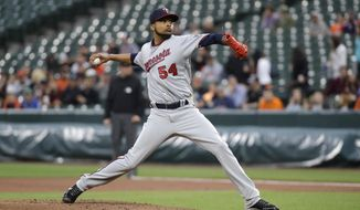 Minnesota Twins starting pitcher Ervin Santana throws to the Baltimore Orioles in the first inning of a baseball game in Baltimore, Tuesday, May 23, 2017. (AP Photo/Patrick Semansky)