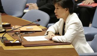 United Nations High Representative for Disarmament Affairs, Izumi Nakamitsu, speaks during a Security Council meeting on Syria at U.N. headquarters, Tuesday, May 23, 2017. (AP Photo/Seth Wenig)