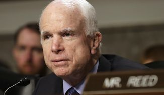 Senate Armed Services Committee Chairman Sen. John McCain speaks on Capitol Hill in Washington, Tuesday, May 23, 2017, during the committee's hearing on worldwide threats. (AP Photo/Jacquelyn Martin)