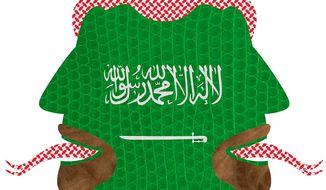 Illustration on Saudia Arabian duplicity by Greg Groesch/The Washington Times