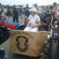 Terry Davis, past national president of American Gold Star Mothers, Inc., rode in a Rolling Thunder, Inc., demonstration in a side car with special forces emblem. Her son, Army SP4 Richard S. Davis, Jr., was killed in Vietnam in 1969. Photo courtesy of Candy Martin.