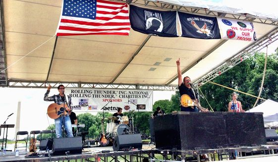 Rockie Lynne and band have often performed  on the main stage on the National Mall following the Rolling Thunder Ride For Freedom .  Photo  courtesy of Susan Rash .