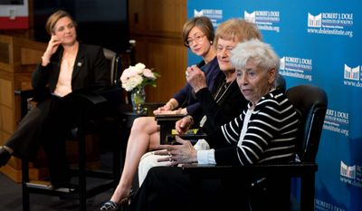 "Jenny Connell Robertson (far right) whose Navy pilot husband died in captivity, and Helene Knapp (second from right), whose Air Force pilot husband is still missing in action, spoke at a May 7 event to open the exhibit, ""The League of Wives: Vietnam's POW/MIA Allies and Advocates,"" at the Robert J. Dole Institute of Politics in Lawrence, Kansas. Heath Hardage Lee (center), curator of the exhibit, and Audrey Coleman (left), assistant director and senior archivist at the Dole Institute, joined the panel. Image courtesy of Robert J. Dole Institute of Politics."
