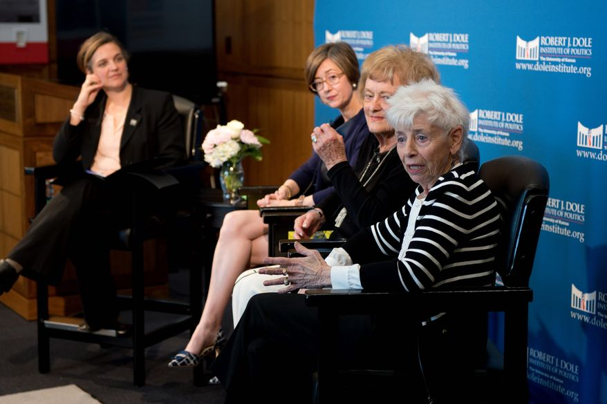 """Jenny Connell Robertson (far right) whose Navy pilot husband died in captivity, and Helene Knapp (second from right), whose Air Force pilot husband is still missing in action, spoke at a May 7 event to open the exhibit, """"The League of Wives: Vietnam's POW/MIA Allies and Advocates,"""" at the Robert J. Dole Institute of Politics in Lawrence, Kansas. Heath Hardage Lee (center), curator of the exhibit, and Audrey Coleman (left), assistant director and senior archivist at the Dole Institute, joined the panel. Image courtesy of Robert J. Dole Institute of Politics."""