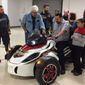 Marine Corps Sgt. Richard Silva, an amputee veteran, accepts a three-wheel Can-Am Spyder donated by Russ Brown Motorcycle Attorneys in December 2016. VeteransCharityRide.org, a nationwide program using motorcycle therapy to help wounded combat veterans adjust to civilian life, and its fiscal sponsor, White Heart Foundation, enable industry giving to deserving vets. Jay Leno helped surprise Richard with the gift.