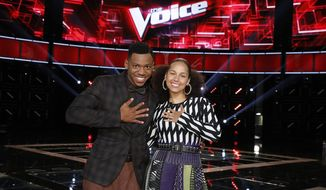 """The Voice"" season 12 winner Chris Blue and coach Alicia Keys.  (Parade)"