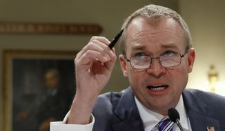 Budget Director Mick Mulvaney testifies on Capitol Hill in Washington, Wednesday, May 24, 2017, before the House Budget Committee hearing on President Donald Trump's fiscal 2018 federal budget. (AP Photo/Jacquelyn Martin)