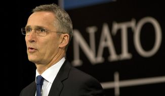 NATO Secretary General Jens Stoltenberg speaks during a media conference at NATO headquarters in Brussels on Wednesday, May 24, 2017. NATO will host a Heads of State summit in Brussels on Thursday. (AP Photo/Virginia Mayo)