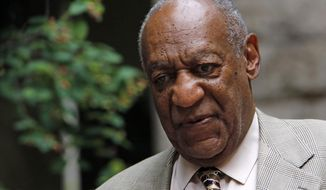 Bill Cosby, right, leaves after attending the second day of jury selection in his sexual assault case at the Allegheny County Courthouse, Tuesday, May 23, 2017, in Pittsburgh. The case is set for trial June 5 in suburban Philadelphia. (AP Photo/Gene J. Puskar)