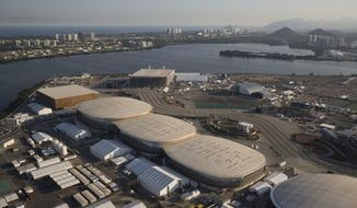 File - In this July 4, 2016 file photo, the Olympic Park of the 2016 Olympics is seen from the air, in Rio de Janeiro, Brazil. Almost one year after the games, Olympic Park in suburban Barra da Tijuca, which was the largest cluster of venues, is an expanse of empty arenas with clutter still remaining from the games. (AP Photo/Felipe Dana, File)