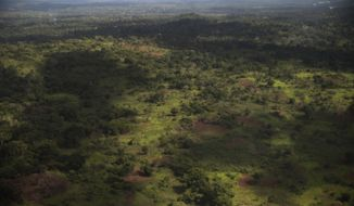 This is an aerial photo taken Saturday May 8, 2017, showing the area near Zemio, Central African Republic. Earlier in the month, a group of Lord's Resistance Army fighters attacked the village of Banangui, about 35 miles from Zemio. Wearing military uniforms and armed with AK-47s, they wounded two civilians and kidnapped 16 people, according to a non-profit group monitoring the security situation.(AP Photo/Zack Baddorf)