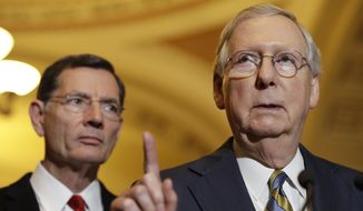 Senate Majority Leader Mitch McConnell of Kentucky, right, accompanied by Sen. John Barrasso, R-Wyo., meets with reporters on Capitol Hill in Washington, Tuesday, May 23, 2017, following after a Republican policy luncheon.  (AP Photo/Jacquelyn Martin) ** FILE **