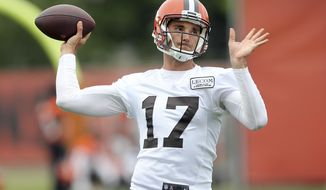 REMOVES ROOKIE REFERENCE - Cleveland Browns quarterback Brock Osweiler throws a pass during NFL football practice, Wednesday, May 2, 2017, in Berea, Ohio. (Joshua Gunter/The Plain Dealer via AP)