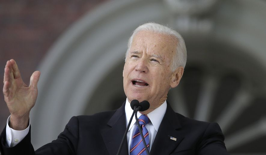 Former Vice President Joe Biden delivers the annual Harvard College Class Day address, Wednesday, May 24, 2017, on the campus of Harvard University, in Cambridge, Mass. (AP Photo/Steven Senne)