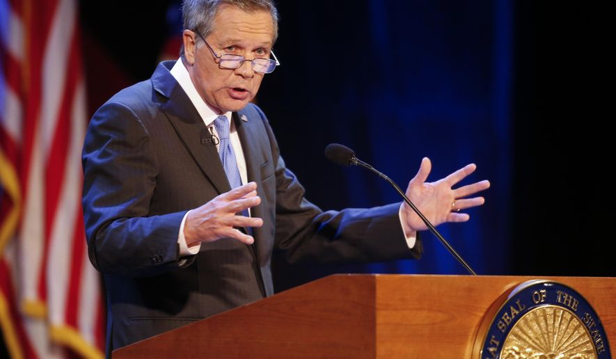 FILE – In this April 4, 2017, file photo, Ohio Gov. John Kasich delivers his State of the State address at the Sandusky State Theatre in Sandusky, Ohio. Kasich's speech called for dedicating a $20 million funding stream to invest in scientific breakthroughs aimed at tackling the state and national opioid crisis, and members of the state's Ohio Third Frontier Commission will debate the request Wednesday, May 24, 2017. (AP Photo/Ron Schwane, File)