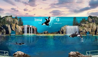 This rendering provided by SeaWorld San Diego shows Orca Encounter, a new attraction that replaces the theme park's theatrical-style whale show with a more educational experience. It's one of several new attractions at SeaWorld, which has weathered criticism and has had declining attendance related to its orca programs. The San Diego park is also opening Ocean Explorer, with multiple aquariums and rides, and Electric Ocean, featuring light displays and live performers on park pathways after dark. (SeaWorld via AP) 10331976 - beach and sea at dramatic sunset with clouds. beautiful nature landscape