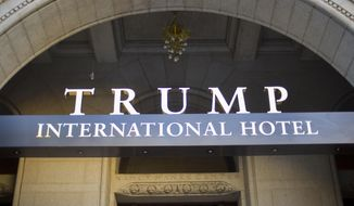 This Monday, Sept. 12, 2016, file photo, shows the exterior of the Trump International Hotel in downtown Washington. (AP Photo/Pablo Martinez Monsivais, File)