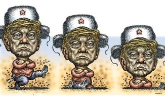 """Illustration on Trump's """"Russian' problems by Kevin Kreneck/Tribune Content Agency"""
