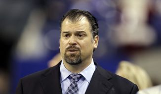 Indianapolis Colts general manager Ryan Grigson is seen before the start of an NFL football game between the Indianapolis Colts and the Houston Texans Sunday, Dec. 11, 2016, in Indianapolis. (AP Photo/Darron Cummings)