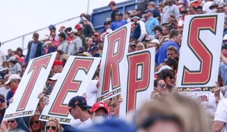 May 21, 2017 - Newark, DE, United States of America - Maryland fans seen holding a sign spelling TERPS during the second half of a 2017 NCAA Division I Men's Lacrosse Quarterfinals game between #1 Maryland and #8 Albany Sunday, May. 21, 2017 at Delaware Stadium in Newark, Delaware. (Cal Sport Media via AP Images)